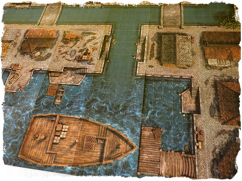 dock and canals map tile set role playing game